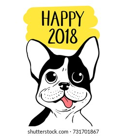 Happy 2018 vector illustration with Boston Terrier. Chinese New Year hand drawn card.