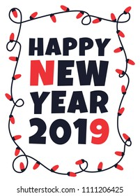 Happy 2019 new year card with garland. Vector illustration