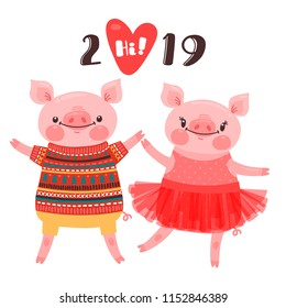 Happy 2019 New Year card. Couple of funny piglets congratulate on the holiday. Pig in ballet tutu and boar in sweater. Pig Chinese zodiac symbol of the year. Vector illustration in cartoon style.