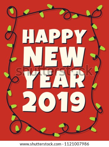 happy 2019 new year card with garland vector illustration