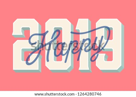 Happy 2019 New Year Card Vector Illustration