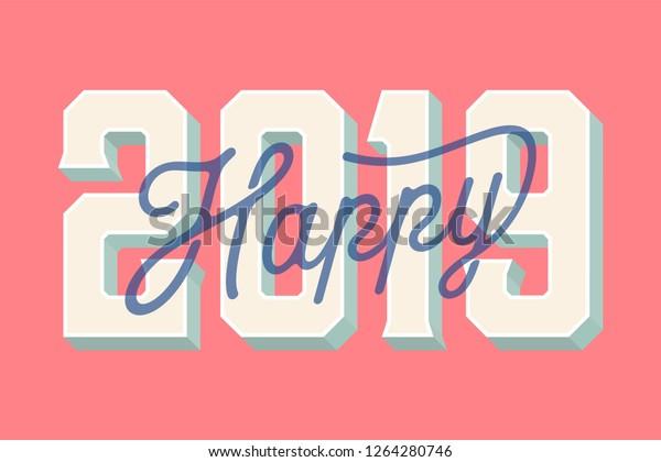 Happy 2019 New Year Card Vector Illustration