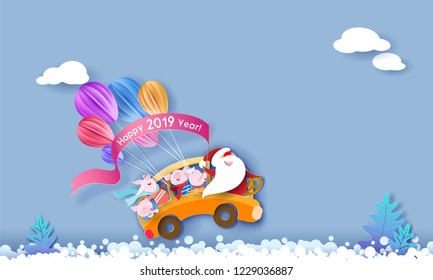 Happy 2019 New Year design card with Santa Claus and small pigs driving yellow bus on snow with blue sky background . Vector paper art illustration. Paper cut and craft style.