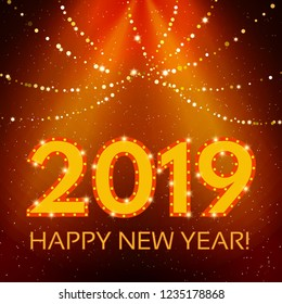 Happy 2019 New Year Flyer. Christmas Greeting Card. Vector illustration