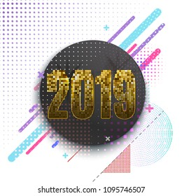 Happy 2019 New Year greeting card or banner template. Trendy dynamic and halftone effects illustration, holiday background.