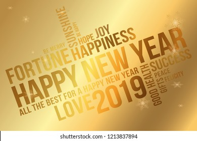 happy 2019 new year greeting card wishes every success happiness joy best