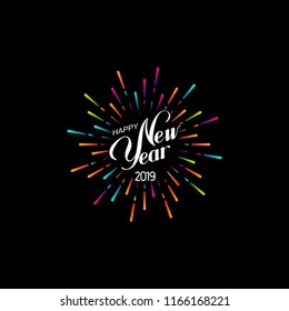 Happy 2019 New Year. Holiday Vector Illustration With Lettering Composition And Bursting Fireworks shape.