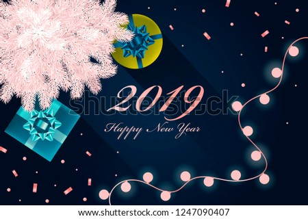 happy 2019 year new year banner with fir garland and gifts vector realistic