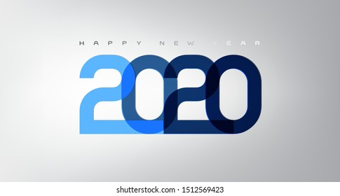 Happy 2020 new year card in modern style for your seasonal holidays flyers, greetings and invitations cards and christmas themed congratulations and banners. Vector illustration.