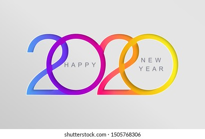 Happy 2020 new year elegant card in paper style for your seasonal holidays banners, flyers, greetings, invitations, business diares, christmas themed congratulations and posters. Vector illustration.