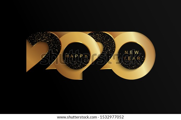 Happy 2020 new year golden papercut banner in paper style for your seasonal holidays flyers, greetings and invitations, christmas themed congratulations and cards. Vector illustration.