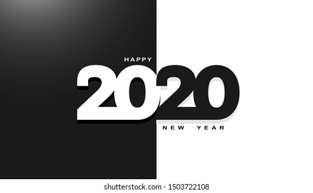 Happy 2020 new year for your flyers, banner, greetings, invitations and cards. Holiday background, poster. Vector illustration.
