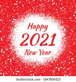 Happy 2021 New Year. Congratulatory poster on a red background with snowflakes, fragile different crystals.Holiday card. Backdrop for the New Year celebration. Vector illustration