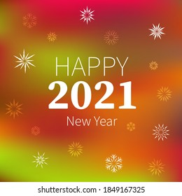 Happy 2021 New Year. Congratulatory poster on a dark blue background with snowflakes, fragile different crystals.Holiday card. Backdrop for the New Year celebration. Vector illustration