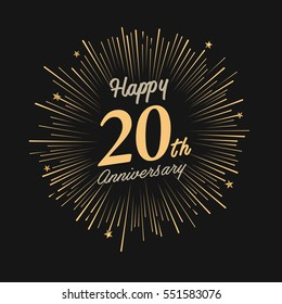 Happy 20th Anniversary. with fireworks and star on dark background.Greeting card, banner, poster