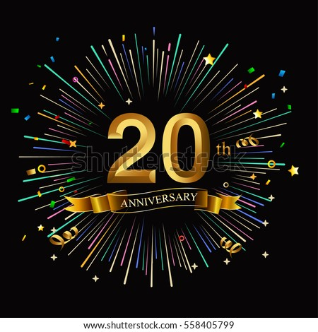 happy 20th anniversary fireworks star on stock vector royalty free