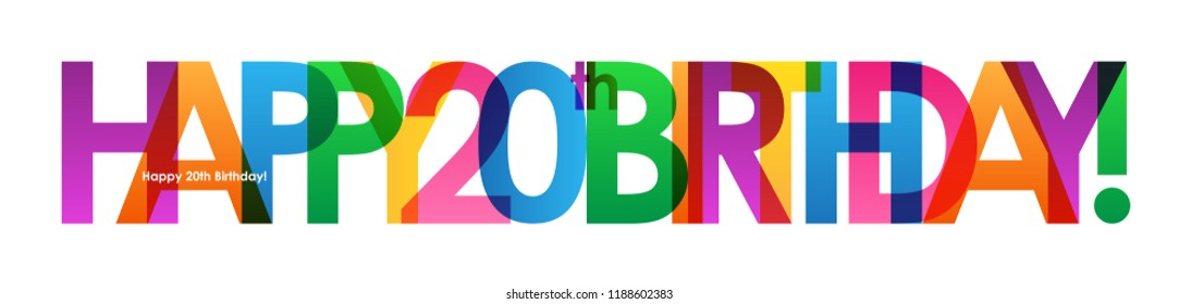 HAPPY 20th BIRTHDAY colorful letters banner