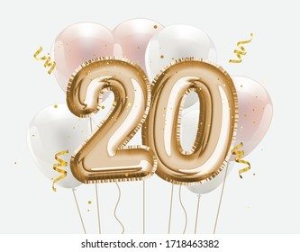 Happy 20th birthday gold foil balloon greeting background. 20 years anniversary logo template. Vector stock