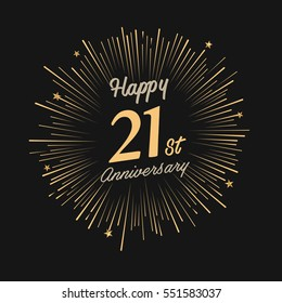 Happy 21st Anniversary. with fireworks and star on dark background.Greeting card, banner, poster
