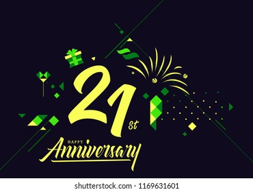 Happy 21st Anniversary lettering text banner, dark color with geometric background