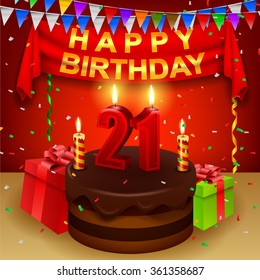 Happy 21st Birthday with chocolate cream cake and triangular flag