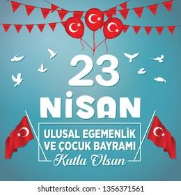 Happy 23 April Children's Day vector. Turkish Speak: 23 Nisan Cocuk Bayrami.