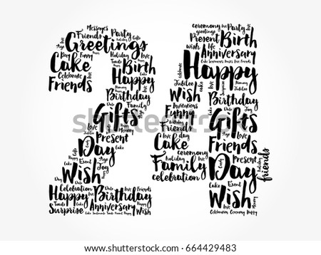 happy 24th birthday word cloud collage stock vector royalty free