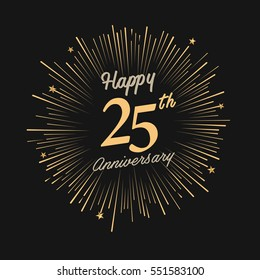 Happy 25th Anniversary. with fireworks and star on dark background.Greeting card, banner, poster