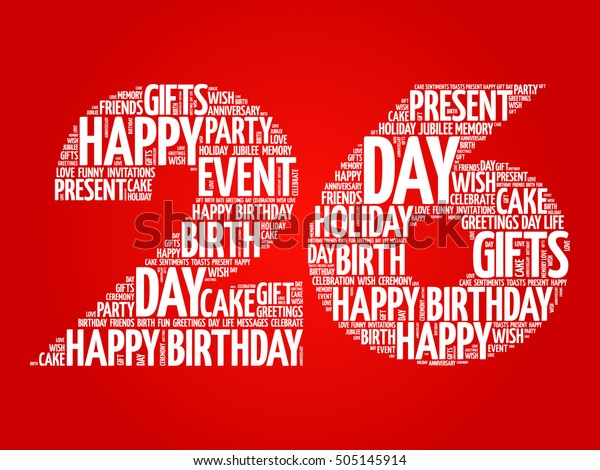 Groovy Happy 26Th Birthday Word Cloud Collage Stock Vector Royalty Free Personalised Birthday Cards Paralily Jamesorg
