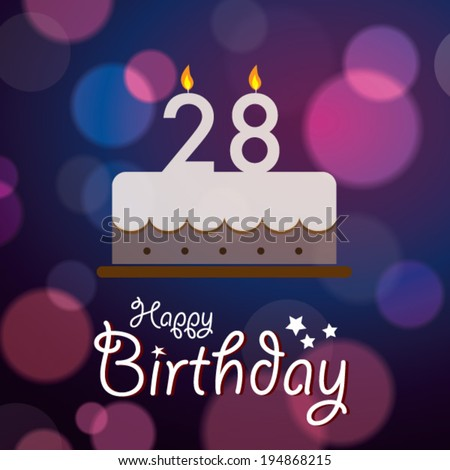 Happy 28th Birthday Bokeh Vector Background Stock Royalty