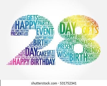 Happy 28th birthday word cloud collage concept
