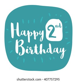 Happy 2nd Birthday Card (Brush Lettering Vector Design)