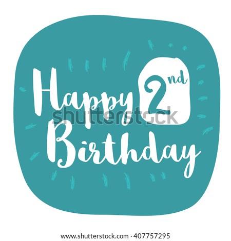 Happy 2nd Birthday Card Brush Lettering Vector Design