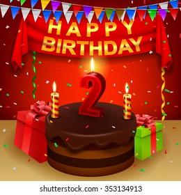 Happy 2nd Birthday with chocolate cream cake and triangular flag