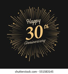 Happy 30th Anniversary. with fireworks and star on dark background.Greeting card, banner, poster