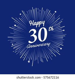 Happy 30th Anniversary. with fireworks and star on blue background.Greeting card, banner, poster