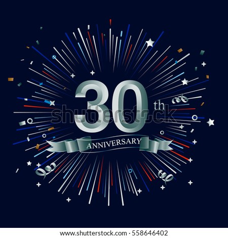 Happy 30th Anniversary Fireworks Star On Stock Vector Royalty Free