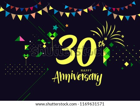 Happy 30th Anniversary Lettering Text Banner Stock Vector Royalty