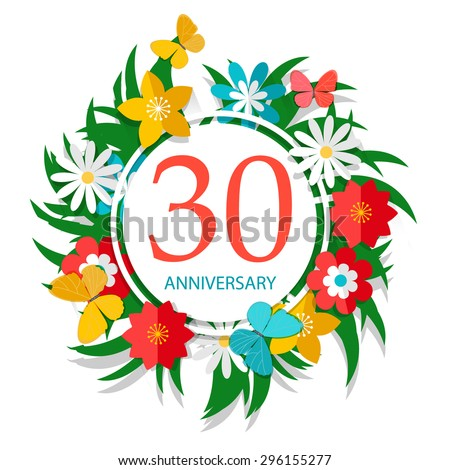 Happy 30th Anniversary Sign Flowers Butterflies Stock Vector