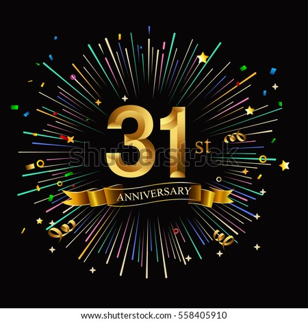 Happy 31st Anniversary Fireworks Star On Stock Vector Royalty Free