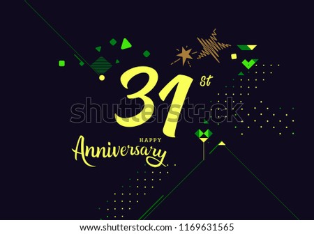 Happy 31st Anniversary Lettering Text Banner Stock Vector Royalty