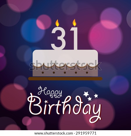 Happy 31st Birthday Bokeh Vector Background Stock Royalty