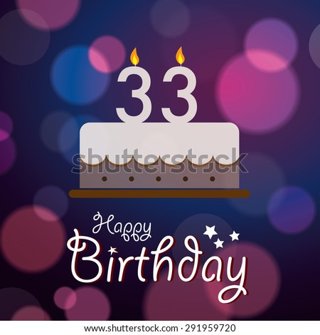 Happy 33rd Birthday Bokeh Vector Background Stock Royalty