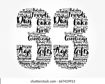 Happy 33rd birthday word cloud collage concept