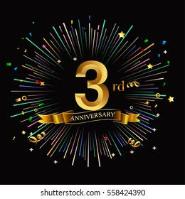 Happy 3rd Anniversary. with fireworks and star on dark background.Greeting card, banner, poster
