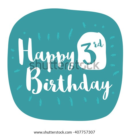 Happy 3rd Birthday Card Brush Lettering Vector Design