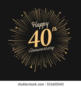 Happy 40th Anniversary. with fireworks and star on dark background.Greeting card, banner, poster