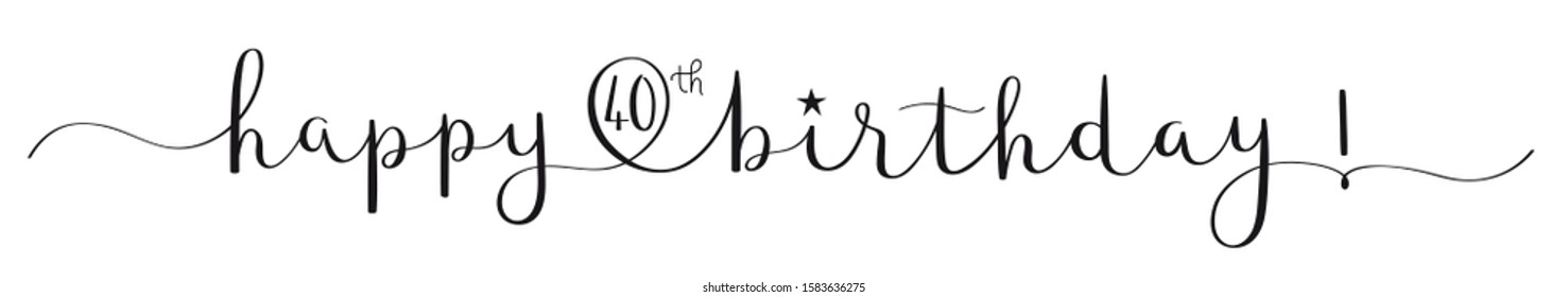 HAPPY 40th BIRTHDAY black vector brush calligraphy banner with swashes