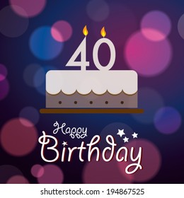 40th Birthday Cake Stock Vectors Images Vector Art