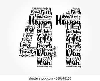 Happy 41st birthday word cloud collage concept